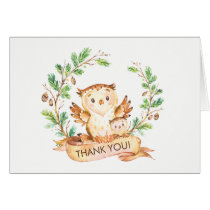 Woodland Owl Baby Shower Thank You Note Card