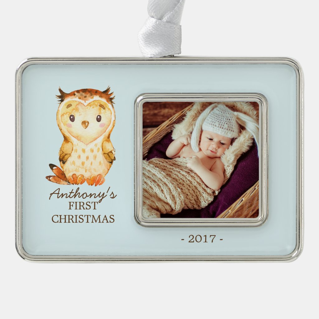 Woodland Owl Baby's 1st Christmas Photo Ornament