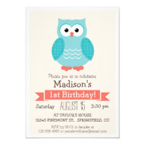Woodland Owl Birthday Party Invitation
