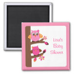 Woodland Owl Girl Party Favor Magnets