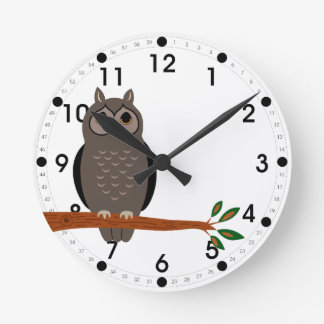 Woodland owl on branch clock Forest Animals