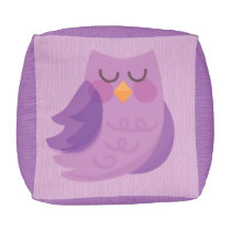 Woodland Owl Purple Poof, Children's Floor Pillow