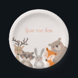 "Woodland Paper Plates Baby shower Animals Fox bear<br><div class=""desc"">♥ A perfect addition to your party! Woodland animals theme.</div>"