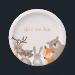 """Woodland Paper Plates Baby shower Animals Fox bear<br><div class=""""desc"""">♥ A perfect addition to your party! Woodland animals theme.</div>"""