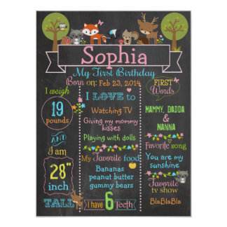 Woodland Party first birthday girl sign poster