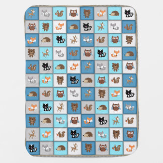 Woodland Patchwork Baby Animals Quiltlike *Blue Swaddle Blanket