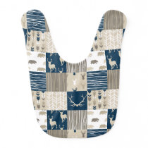 Woodland Patchwork Bib - Navy/Tan