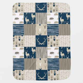 Woodland Patchwork in Navy and Tan Baby Blanket