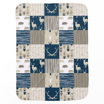 SugarPineDesign Woodland Patchwork in Navy and Tan Baby Blanket