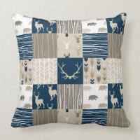 Woodland Patchwork Pillow - Navy and Tan