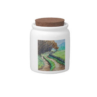 woodland path landscape drawing candy dish