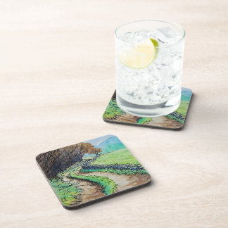 woodland path landscape drawing coaster