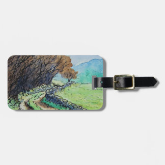 woodland path landscape drawing tag for bags