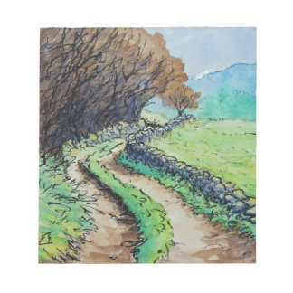 woodland path landscape drawing memo note pad