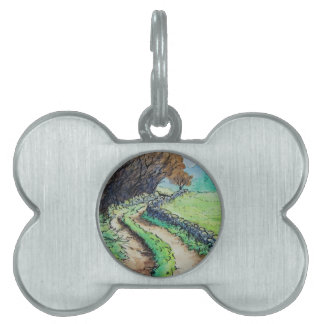 woodland path landscape drawing pet tag