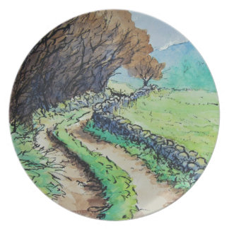 woodland path landscape drawing party plates