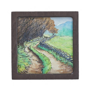 woodland path landscape drawing premium jewelry boxes