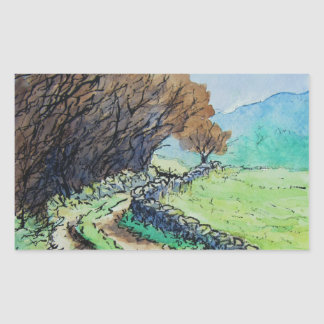 woodland path landscape drawing rectangle sticker