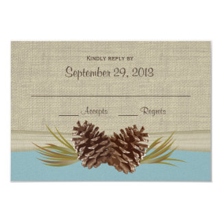 "Woodland Pine cones Blue Response Card 3.5"" X 5"" Invitation Card"