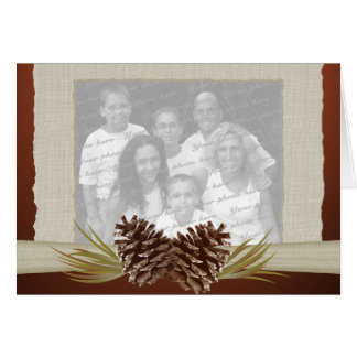 Woodland Pinecones and Burlap Photo Cards