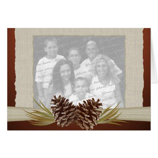 Woodland Pinecones and Burlap Photo Card