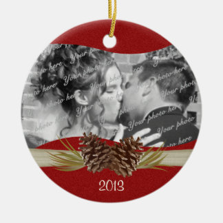 Woodland Pinecones Red Photo Christmas Ornaments