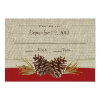 "Woodland Pinecones Response Card 3.5"" X 5"" Invitation Card"