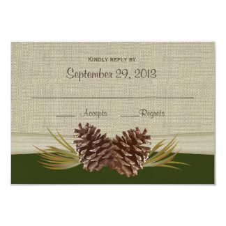 "Woodland Pinecones Response Card 3.5"" X 5"" Invitation Card"