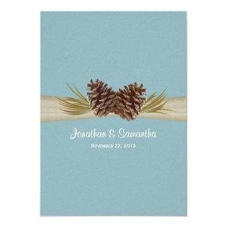 "Woodland Pines Blue Wedding 5"" X 7"" Invitation Card"