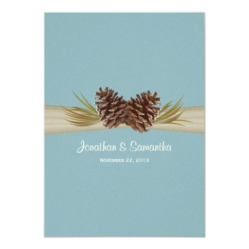 Woodland Pines Blue Wedding 5x7 Paper Invitation Card