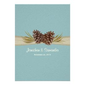 Woodland Pines Blue Wedding Invitations