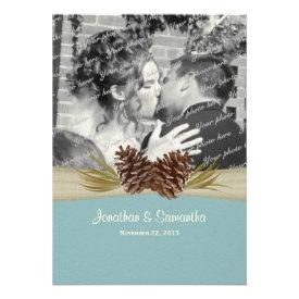 Woodland Pines Blue Wedding with Photo Custom Invitations