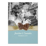 Woodland Pines Blue Wedding with Photo 5x7 Paper Invitation Card