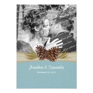 "Woodland Pines Blue Wedding with Photo 5"" X 7"" Invitation Card"
