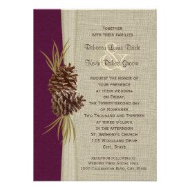 Woodland Pines Deep Plum Wedding Personalized Invitations