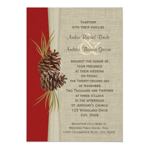 Woodland pines red wedding 5x7 paper invitation card zazzle for Paper fasteners wedding invitations