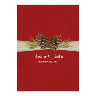 "Woodland Pines Red Wedding 5"" X 7"" Invitation Card"