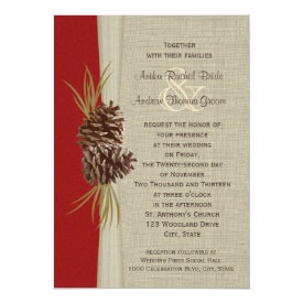 Woodland Pines Red Wedding 5x7 Paper Invitation Card