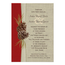 Woodland Pines Red Wedding Personalized Invite