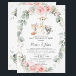 "Woodland Pink Floral Greenery Baby Shower by Mail Invitation<br><div class=""desc"">Personalize this chic blush pink floral greenery woodland animals baby shower by mail invitation with your message and details today! Simply press the customize it button to further re-arrange and format the style and placement of the text.  Featuring watercolor floral greenery wreath and whimsical woodland animals. Matching items available in...</div>"