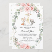 Woodland Pink Floral Greenery Baby Shower by Mail Invitation