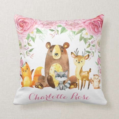 Woodland Pink Floral Roses Baby Girl Nursery Decor Throw Pillow