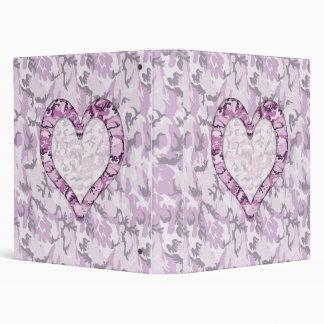 Woodland Pink/Purple Camouflage Heart on Camo Binder