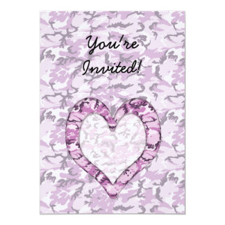 Woodland Pink/Purple Camouflage Heart on Camo Card