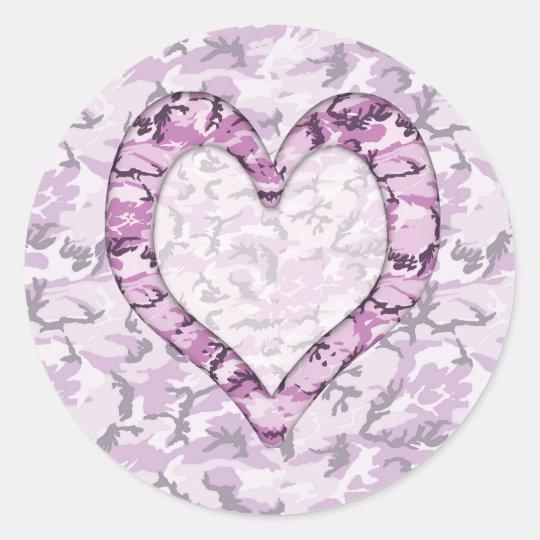 Woodland Pink/Purple Camouflage Heart on Camo Classic Round Sticker