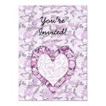 "Woodland Pink/Purple Camouflage Heart on Camo 5"" X 7"" Invitation Card"