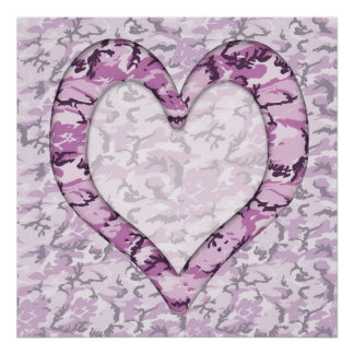 Woodland Pink/Purple Camouflage Heart on Camo Poster