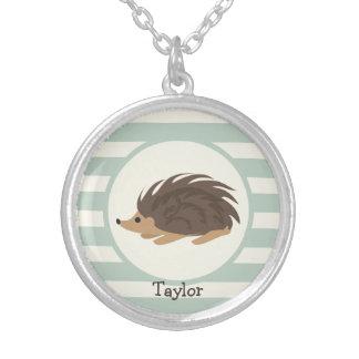 Woodland Porcupine, Hedgehog; Light Sage Green Round Pendant Necklace