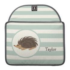 Woodland Porcupine, Hedgehog; Light Sage Green Sleeve For Macbook Pro at Zazzle