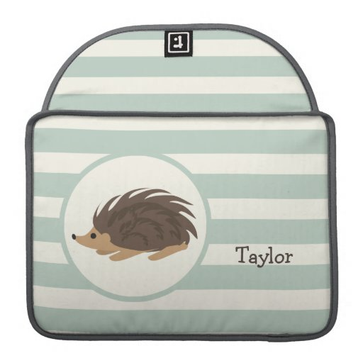 Woodland Porcupine, Hedgehog; Light Sage Green Sleeve For MacBook Pro